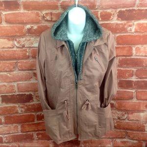 Love Tree Mauve Hooded Utility Jacket Size Medium